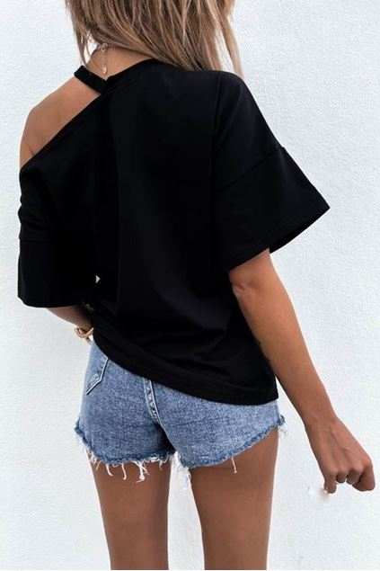 T-shirt  - Selected by My Wish - 1 off sholder- zwart